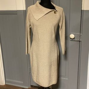 Calvin Klein Sparkly Gold Sweater Dress